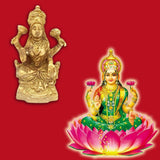 Divya Mantra Sri Hindu Goddess Mata Laxmi Maa Idol Sculpture Statue Murti - Puja Room, Meditation, Prayer, Office, Temple, Home Decor Gift Collection Item/Product-Money, Good Luck, Prosperity - Yellow - Divya Mantra