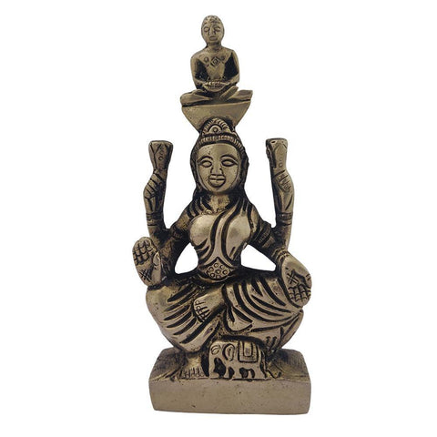 Divya Mantra Jain Goddess Yakshi Devi Padmavati with Lord Sri Parshvanatha in Her Crown Sculpture Statue Iron Murti for Puja, Meditation, Prayer, Office, Temple, Home Decor Gift Item/Good Luck -Yellow - Divya Mantra