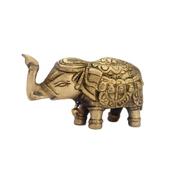 Divya Mantra Feng Shui Trunk Up Elephant Statue For Wish Fulfillment Wealth Brass Home Decoration Showpiece, Office, Gift Item/Product-Money, Good Luck, Prosperity, Infant Luck, Career Growth-Yellow