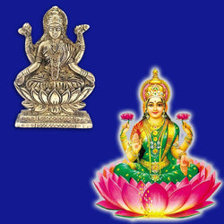 Divya Mantra Sri Hindu Goddess Mata Laxmi Maa Idol Sculpture Statue Murti - Puja Room, Meditation, Prayer, Office, Temple, Home Decor Gift Collection Item/Product-Money, Good Luck, Prosperity-Yellow