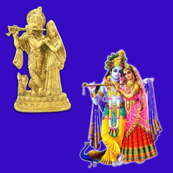 Divya Mantra Decorative Sri Hindu Goddess Radha And Lord Krishna Idol Sculpture Statue Murti-Puja, Meditation, Prayer, Office, Home Decor Gift Collection Item/Product-Money, Good Luck, Love - Yellow - Divya Mantra