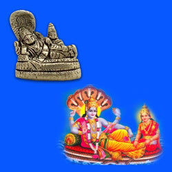 Divya Mantra Sri Vishnu And Laxmi on Sheshnag Idol Sculpture Statue Murti - Puja Room, Meditation, Prayer, Office, Business, Home Decor Gift Collection Item/Product-Money, Good Luck, Prosperity-Yellow - Divya Mantra