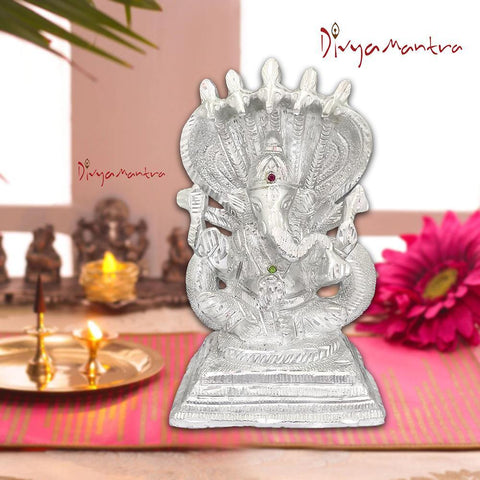 Divya Mantra Sri Hindu God Ganesha Sheshnag Idol Sculpture Statue Murti - Puja Room, Meditation, Prayer, Office, Business, Home Decor Gift Collection Item/Product-Money, Good Luck, Prosperity - Silver - Divya Mantra