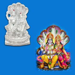Divya Mantra Sri Vishnu And Laxmi on Sheshnag Idol Sculpture Statue Murti - Puja Room, Meditation, Prayer, Office, Business, Home Decor Gift Collection Item/Product-Money, Good Luck, Prosperity-Silver - Divya Mantra