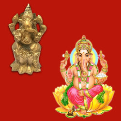 Divya Mantra Sri Hindu God Ganesha Ganpati Idol Sculpture Statue Murti - Puja Room, Meditation, Prayer, Office, Business, Home Decor Gift Collection Item/Product-Money, Good Luck, Prosperity-Yellow - Divya Mantra
