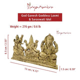 Divya Mantra Hindu God Ganesh Goddess Laxmi & Saraswati Maa Idol Sculpture Statue Murti - Puja Room, Temple, Meditation, Office, Business, Home Decor Collection Item/Product - Money, Good Luck -Yellow - Divya Mantra