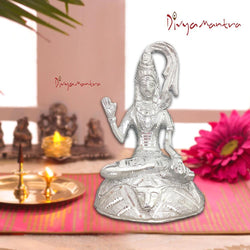 Divya Mantra Hindu Religious God Meditating Shiv Bhagwan With Yoga Mudra Idol Sculpture Statue Brass Murti Puja Room, Temple, Meditation, Concentration, Home Decor Item/Product-Money,Good Luck-Silver