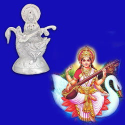 Divya Mantra Hindu Goddess Maa Veena Vadini Saraswati Idol Sculpture Statue Iron Murti Puja Room, Temple, Meditation, Office, Business, Home Decor Gift Collection Item/Product- Money, Good Luck-Silver