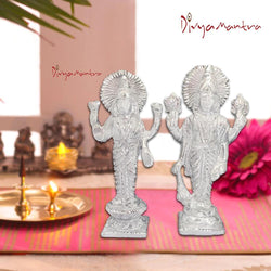 Divya Mantra Hindu Goddess Laxmi Lakshmi Maa & God Narayan Vishnuji Sculpture Statue Brass Murti - Puja Room, Meditation,  Prayer, Office, Temple, Home Decor Item/Good Luck, Prosperity, Fortune-Silver - Divya Mantra