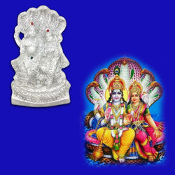 Divya Mantra Sri Vishnu And Laxmi on Sheshnag Idol Sculpture Statue Murti - Puja Room, Meditation, Prayer, Office, Business, Home Decor Gift Collection Item/Product-Money, Good Luck, Prosperity-Silver