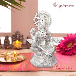 Divya Mantra Sri Hindu Goddess Mata Laxmi Maa Idol Sculpture Statue Murti - Puja Room, Meditation, Prayer, Office, Temple, Home Decor Gift Collection Item/Product-Money, Good Luck, Prosperity-Silver