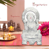 Divya Mantra Sri Hindu Goddess Mata Laxmi Maa Idol Sculpture Statue Murti - Puja Room, Meditation, Prayer, Office, Temple, Home Decor Gift Collection Item/Product-Money, Good Luck, Prosperity-Silver - Divya Mantra