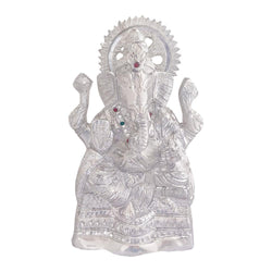 Divya Mantra Sri Hindu God Ganesha Ganpati Idol Sculpture Statue Murti - Puja Room, Meditation, Prayer, Office, Business, Home Decor Gift Collection Item/Product-Money, Good Luck, Prosperity-Silver