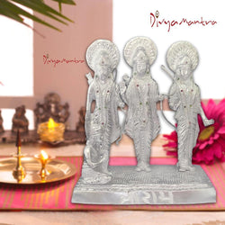 Divya Mantra Hindu God Ram with Laxman Hanuman & Goddess Sita Darbar Sculpture Statue Brass Murti Puja Room, Temple, Meditation, Office, Business, Home Decor Table Item/Product-Money, Good Luck-Silver
