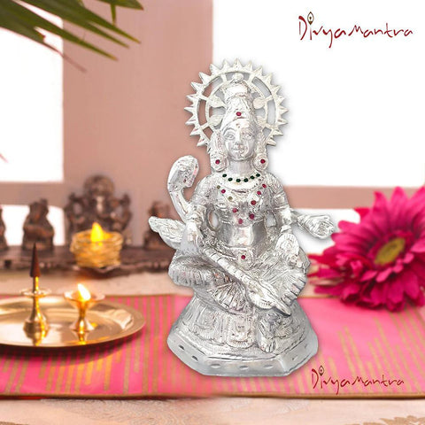 Divya Mantra Hindu Goddess Maa Veena Vadini Saraswati Idol Sculpture Statue Iron Murti Puja Room, Temple, Meditation, Office, Business, Home Decor Gift Collection Item/Product- Money, Good Luck-Silver - Divya Mantra
