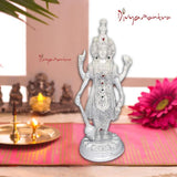 Divya Mantra Hindu God Sri Vishnu Narayan Bhagwan Standing Sculpture Statue Murti Puja, Temple, Meditation, Office, Business, Home Decor Gift Collection Item/Product Money, Good Finance Luck - Silver - Divya Mantra