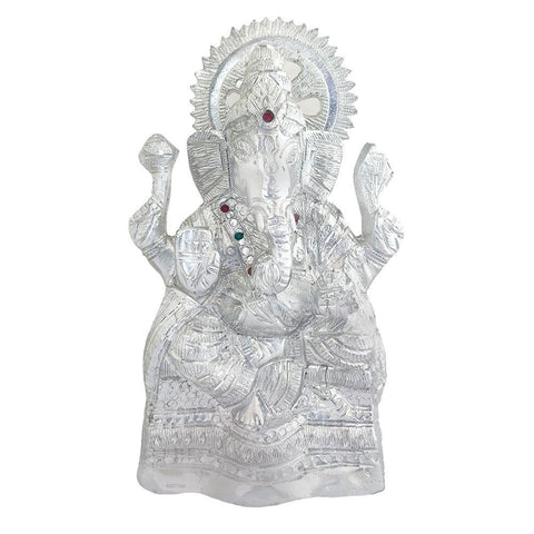 Divya Mantra Sri Hindu God Ganesha Ganpati Idol Sculpture Statue Murti - Puja Room, Meditation, Prayer, Office, Business, Home Decor Gift Collection Item/Product-Money, Good Luck, Prosperity-Silver - Divya Mantra