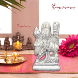 Divya Mantra Hindu God Sri Gadadhari Bajrangi Hanuman Lifting Parvat Idol Sculpture Statue Murti Puja Room, Temple, Meditation, Office, Business, Home Decor Gift Collection Lucky Item/Product - Silver - Divya Mantra