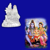 Divya Mantra Hindu God Shankar Bhagwan Parvati Devi and Ganesha Shiv Parivar Idol Sculpture Statue Murti-Puja Room, Meditation, Office, Home Decor Gift Collection Item/Product - Money,Good Luck-Silver