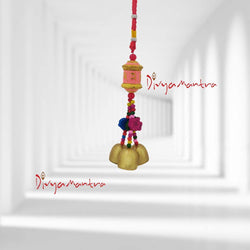 Divya Mantra Decorative Prayer Wheel Wind Bell With Om Mani Padme Hum Symbol & Fishes Gift Pendant Amulet For Car Rear View  Mirror Ornament Accessories/Good Luck Interior Wall Hanging Showpiece- Pink - Divya Mantra