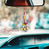 Divya Mantra Decorative Prayer Wheel Wind Bell With Om Mani Padme Hum Symbol & Fishes Gift Pendant Amulet For Car Rear View Mirror Ornament Accessories/Good Luck Interior Wall Hanging Showpiece-Orange - Divya Mantra