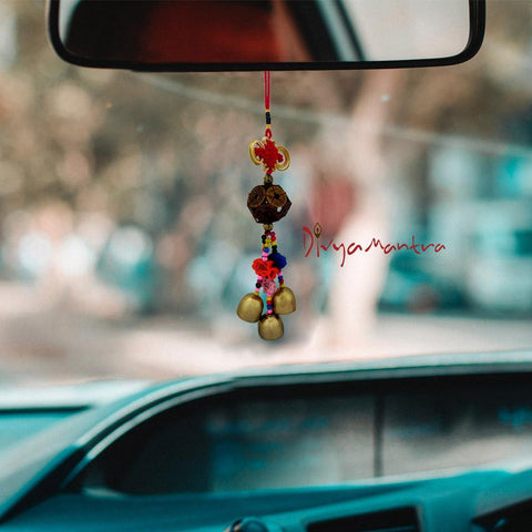 Divya Mantra Decorative Prayer Wind Bell With 12 Lucky Chinese Coins Feng Shui & Fishes Gift Pendant Amulet Car Mirror Decor Ornament Accessories/Good Luck Interior Wall Hanging Showpiece- Multicolour - Divya Mantra
