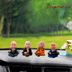 Divya Mantra Feng Shui Playful Tibetan Monk Musical Baby Lama Car Dashboard Interior Decor Accessories Showpiece Toy Dolls, Collection Figurines, Gifts for Kids - Money, Good Luck Set of 4-Multicolour - Divya Mantra