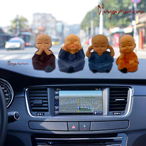Divya Mantra Feng Shui Playful Tibetan Monk Happy Baby Lama Car Dashboard Interior Decor Accessories Showpiece Toy Dolls, Collection Figurines, Gifts for Kids - Money, Good Luck Set of 4 - Multicolour - Divya Mantra