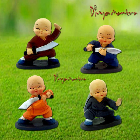 Divya Mantra Feng Shui Playful Tibetan Monk Kung Fu Baby Lama Car Dashboard Interior Decor Accessories Showpiece Toy Dolls, Collection Figurines, Gifts for Kids - Money, Good Luck Set of 4-Multicolour - Divya Mantra
