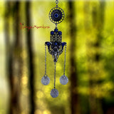 Feng Shui Turkish Hamsa Hand Ganesha Head Buri Nazar Battu Evil Eye Wall Hanging - Divya Mantra
