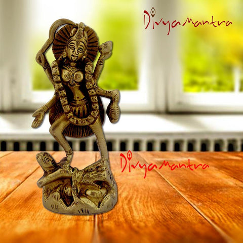 Divya Mantra Hindu Goddess Maha Kali Bhadrakali Swaroop Idol Sculpture Statue Brass Murti Puja Room, Temple, Meditation, Office, Business, Home Table Decor Gift  Item/Product-Money, Good Luck-Yellow