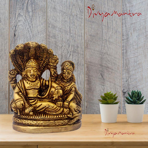 Divya Mantra Sri Vishnu And Laxmi on Sheshnag Idol Sculpture Statue Murti - Puja Room, Meditation, Prayer, Office, Business, Home Decor Gift Collection Item/Product-Money, Good Luck, Prosperity-Yellow