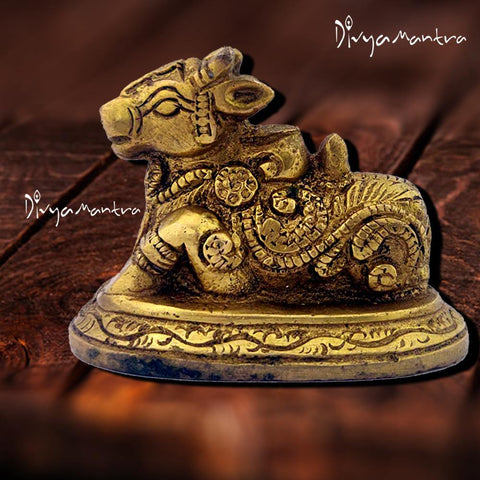 Divya Mantra Hindu Divine Bull Sri Nandi Idol Sculpture Statue Brass Murti Puja Room, Prayer, Office, Business, Temple, Home Decor Collection Item/Product– Money/ Wealth/Good Luck/ Prosperity - Yellow - Divya Mantra