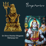Divya Mantra Hindu God Shiva Shankar Bhagwan Mahayogi Idol Sculpture Statue Murti Brass Puja Room, Temple, Meditation, Office, Business, Home Decor Gift Collection Item/Product-Money, Good Luck-Yellow