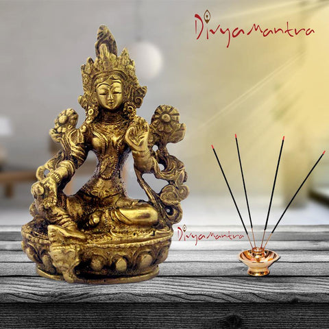 Divya Mantra Lady Buddha/Guan Yin/Kwan Yin/Tara Devi Goddess of Mercy and Compassion Sculpture Statue Murti Idol-Puja Room, Home Decor Gift Collection Item/Product-Money, Good Luck, Prosperity-Yellow - Divya Mantra