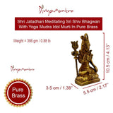 Divya Mantra Hindu Jatadhari Meditating Sri Shiv Bhagwan With Yoga Mudra Idol Sculpture Statue Brass Murti Puja Room, Temple, Meditation, Concentration, Home Decor Item/Product-Money, Good Luck-Yellow