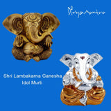 Divya Mantra Sri Hindu God Lambakarna Ganesha Idol Sculpture Statue Murti - Puja Room, Meditation, Prayer, Office, Business, Home Decor Gift Collection Item/Product-Money, Good Luck, Prosperity-Yellow - Divya Mantra