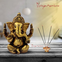 Divya Mantra Sri Hindu God Ganesha Ganpati Idol Sculpture Statue Murti - Puja Room, Meditation, Prayer, Office, Business, Home Decor Gift Collection Item/ Product-Money, Good Luck, Prosperity - Yellow - Divya Mantra