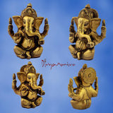 Divya Mantra Sri Hindu God Ganesha Ganpati Idol Sculpture Statue Murti - Puja Room, Meditation, Prayer, Office, Business, Home Decor Gift Collection Item/ Product-Money, Good Luck, Prosperity - Yellow