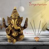 Divya Mantra Sri Hindu God Ganesha Ganpati Idol Sculpture Statue Murti - Puja Room, Meditation, Prayer, Office, Business, Home Decor Gift Collection Item/Product- Money, Good Luck, Prosperity - Yellow - Divya Mantra