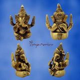 Divya Mantra Sri Hindu God Ganesha Ganpati Idol Sculpture Statue Murti - Puja Room, Meditation, Prayer, Office, Business, Home Decor Gift Collection Item/Product- Money, Good Luck, Prosperity - Yellow