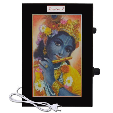 Divya Mantra Metallic Sri Krishna Govinda Radha 25 Chants Hindu Religious Chanting Repeater Akhand Jaap Machine Device Electric Box - Mandir/Pooja/Puja Room, Good Luck Prosperity Gift Item-Multicolor - Divya Mantra