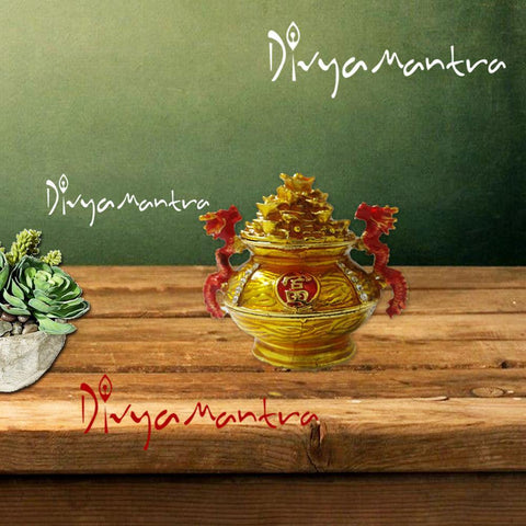 Divya Mantra Feng Shui Ingot Wealth Secret Money Magnetic Compartment Box With Dragon for Abundance Financial Prosperity Good Luck Bowl Sculpture- Success, Home, Office, Decor Gift, Showpiece-Yellow - Divya Mantra