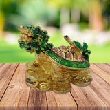 Divya Mantra Feng Shui Dragon Headed Tortoise with Baby Standing on Wealth Money Bed for Wish Fulfilling ,Good Luck, Abundance Prosperity, Office, Business, Home Decor Gift Item/Product - Multicolour - Divya Mantra