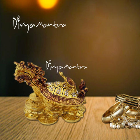 Divya Mantra Feng Shui Dragon Headed Tortoise with Baby Standing on Wealth Money Bed for Wish Fulfilling ,Good Luck Abundance Prosperity Office, Business, Home Decor Gift Item/Product - Golden - Divya Mantra