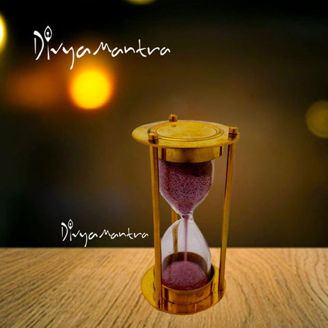 Divya Mantra Decorative Glass Nautical Ship Sand Timer One Minute Two Side Brass Metal Stand Clock Stopwatch For Home Decor, Office, Antique Gift Items, Living Room, Study Table, Showpiece - Golden - Divya Mantra