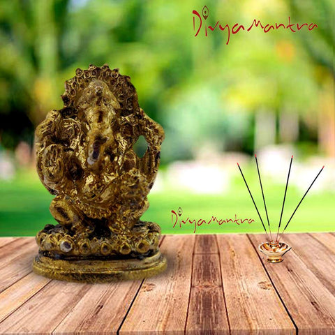 Divya Mantra Sri Hindu God Ganesha Ganpati Idol Sculpture Statue Murti - Puja Room, Meditation, Prayer, Office, Business, Home Decor Gift Item / Product - Money, Good Luck, Prosperity Set of 2- Yellow - Divya Mantra