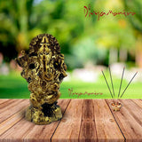 Divya Mantra Sri Hindu God Ganesha Ganpati Idol Sculpture Statue Murti - Puja Room, Meditation, Prayer, Office, Business, Home Decor Gift Item / Product - Money, Good Luck, Prosperity Set of 2- Yellow