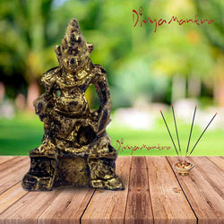 Divya Mantra Sri Hindu Religious God Kuber Idol Sculpture Statue Murti - Puja Room, Meditation, Prayer, Office, Home Decor Gift Collection Item / Product - Money, Good Luck, Prosperity Set of 2-Yellow - Divya Mantra