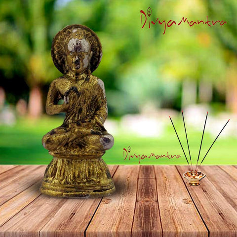 Divya Mantra Meditating Gautam Buddha Sculpture Statue Murti Puja Room, Meditation, Prayer, Office, Business, Home Decor Gift Collections Item / Product - Money, Good Luck, Prosperity Set of 2- Yellow - Divya Mantra